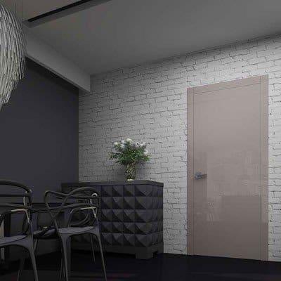 Межкомнатная дверь Glossify Milky Brown. Стеклянные глянцевые панели фирменного цвета Milky Brown. Высокий глянец