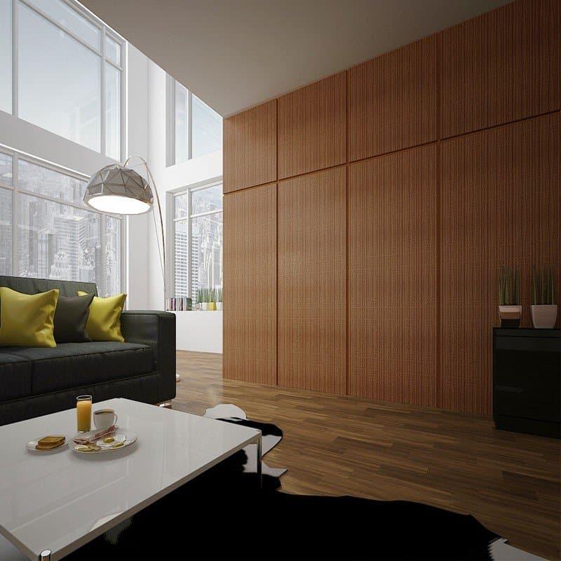 Стеновые панели Pariete, выполненные из разных материалов, стекла, натурального шпона, каменного шпона.