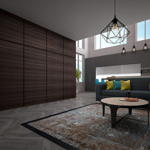 Стеновые декоративные панели Pariete Tres-Dimensiva изготовленные из 3d-шпона Iva роскошного оттенка и фактуры.